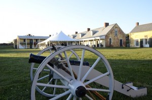 An event at Fort Mifflin with the Revolutionary War cannon in the foreground