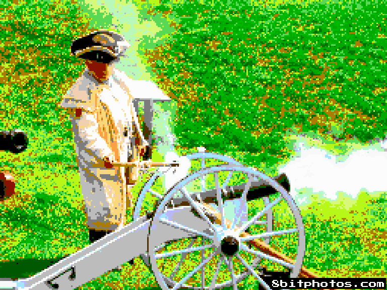 A pixelated image of a Revolutionary War soldier firing a cannon.